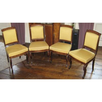 Suite Four Chairs Vintage Charles X Stamped Dubois.