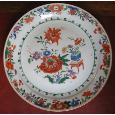 Assiette En Porcelaine De Chine Dite De La Compagnie Des Indes, époque XVIIIème.
