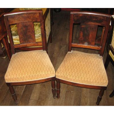 Pair Of Empire Period Chairs Mahogany And Mahogany Veneer.