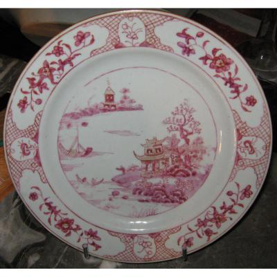 Assiette en porcelaine de Chine, époque XVIIIeme.