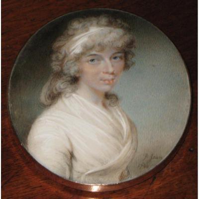 Miniature Sur Ivoire De Philippe Jean: Portrait De Dame De Qualité En Robe Blanche.