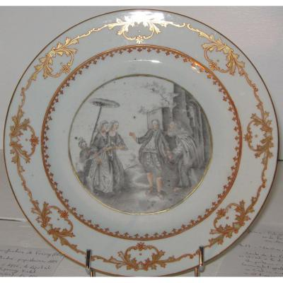 """Porcelaine De La Compagnie Des Indes XVIIIeme, Dite """"grisaille"""""""