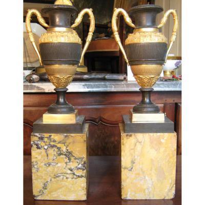 Paire De Vases En Bronze Patiné Vers 1820.