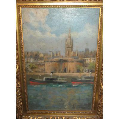 """""""Bateaux à Quai Devant Les Remparts De Saint-Malo"""": Attribué à Edward Hulton."""
