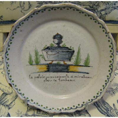 Earthenware Plate De Nevers Revolutionary
