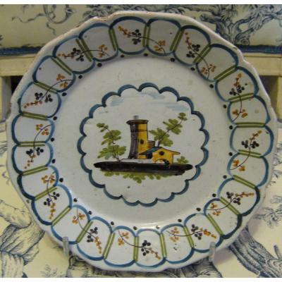 "Earthenware Plate De Nevers: Decor ""factory"""