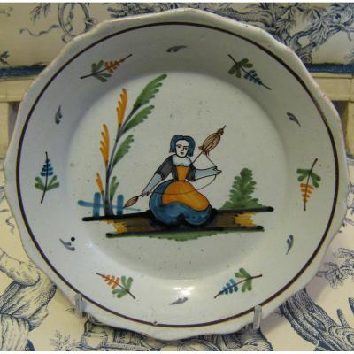 Earthenware Plate Auxerrois Work Of The Eighteenth End.