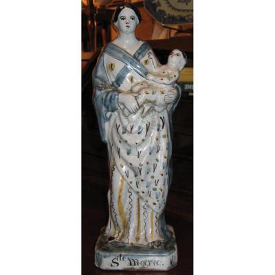 Sainte Femme En Faïence d'époque XIXème. Rennes.