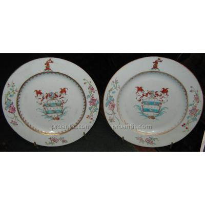 "India Company: Pair Of Plates Emblazoned (referenced In The ""howard"")"