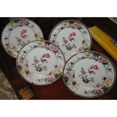Série De Quatre Assiettes En Porcelaine De La Compagnie Des Indes XVIIIème Siècle.
