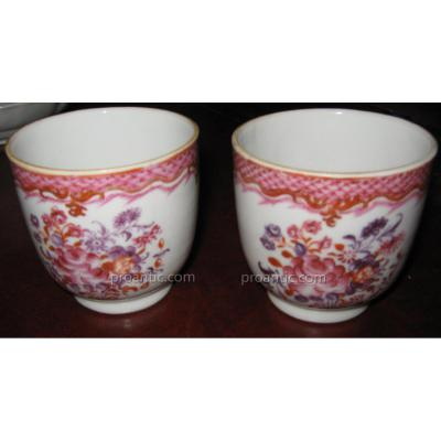Pair Of Cups Porcelain Company From India Eighteenth Century Era