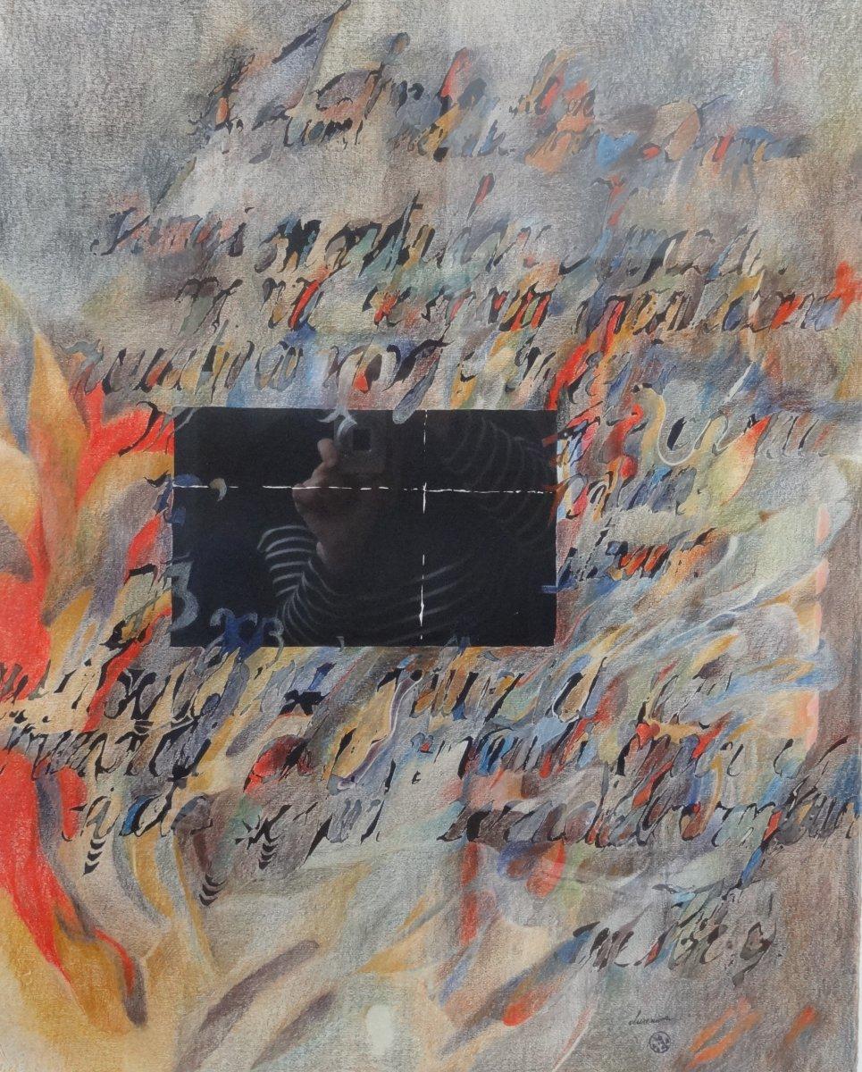 Peinture Abstraite - Technique Mixte Sur Papier -r Alph Cleeremans - école Belge
