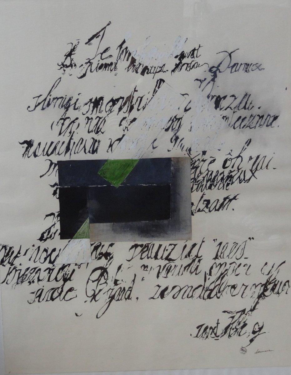 Peinture Abstraite - Technique Mixte Sur Papier - Ralph Cleeremans - école Belge