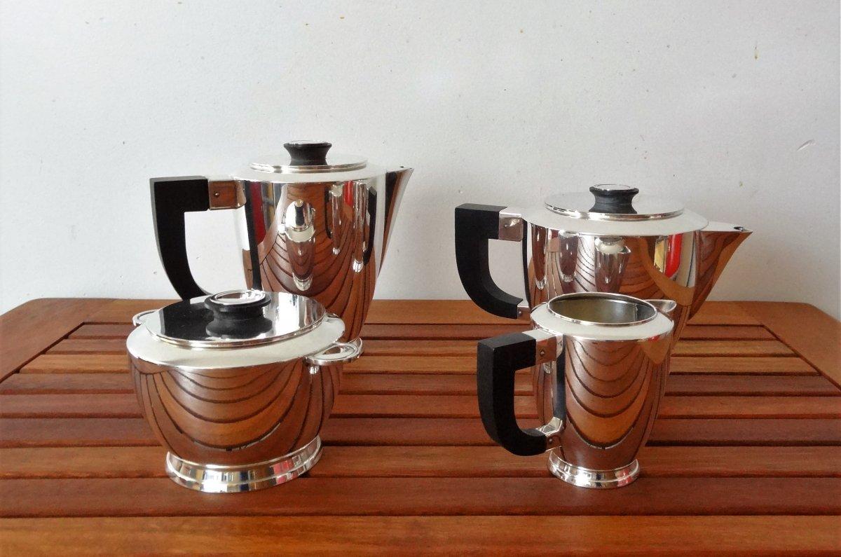 Christofle - Uni Coffee Service - Rosewood Handles - 4 Pieces - Silver Metal - Art Deco
