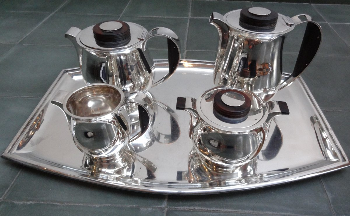 Coffee And Tea Service On Silver Tray - Orfèvre Delheid - Art Deco Period - Belgium