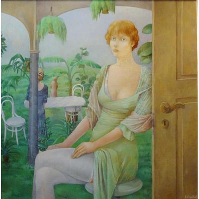 Dingelstadt Jc - Oil On Panel - Portrait 1 Woman - Belgian School