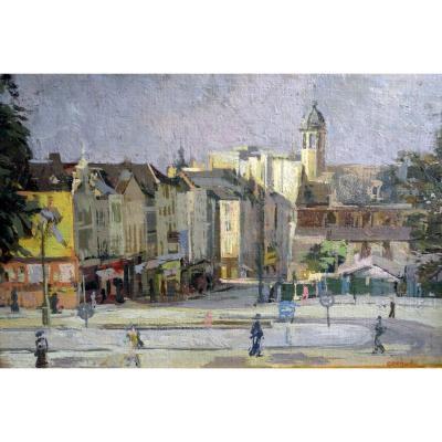 Maud Gerard- Huile Sur Toile- Eglise De La Madeleine -école Belge