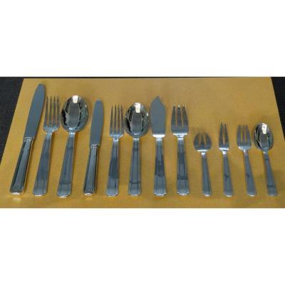 Cutlery Set - Silver Metal - Art Deco - 150 Pces - Silversmith Soh France