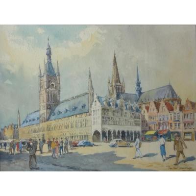 Watercolor Signed J. Van Nieuwenhuyse