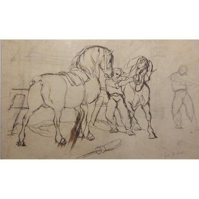 Alfred Verwee - Belgian School - Drawing