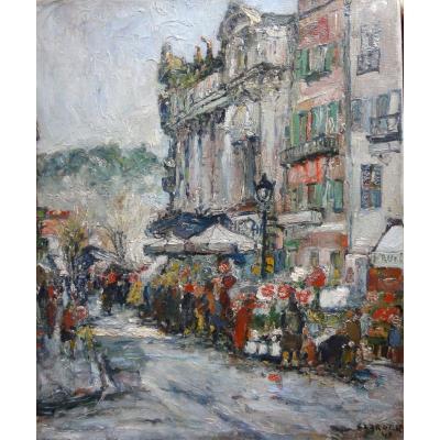 Huile sur toile - signée René Clarot  - école belge