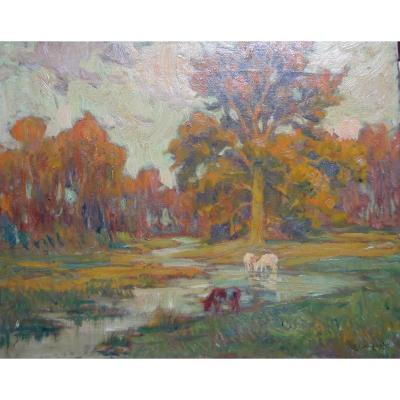 Oil On Canvas - Signed A. Van Beurden - Belgian School - XXth