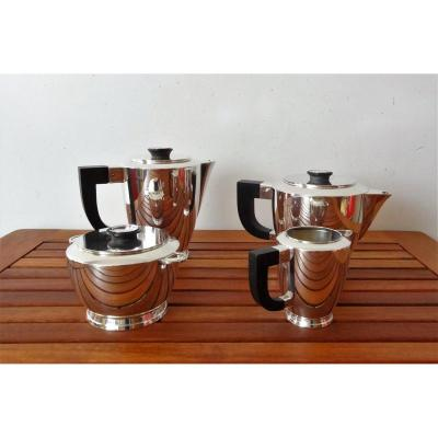 Christofle - Uni Coffee Service - Rosewood Handles - 4 Pieces - Silver Metal - Art Deco