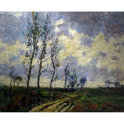 Frison Jehan - Oil On Canvas - Dated 1957 - Landscape At Twilight - Belgian School