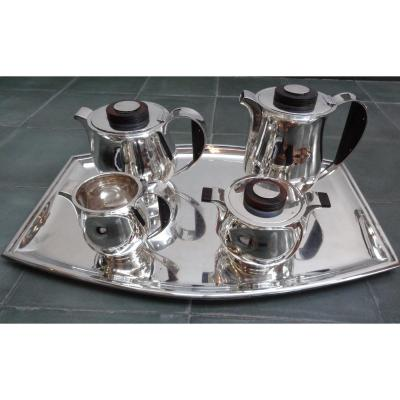 Coffee And Tea Service On Silver Tray - Orfèvre Delheid - Art Deco Period - Belgium