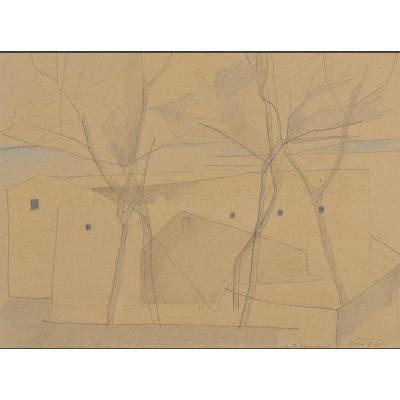 Paysage Italien Dessin Par Rodolphe Théophile Bosshardt De 1949