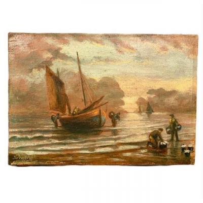 Belle Petite Peinture Marine Debut XXè Signée, Provenant d'Un Château Belge