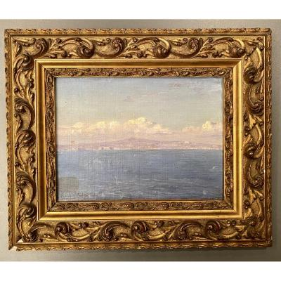 Magnificent oil on wood by the artist &Eacute;douard Sain 1830-1910 and located in Capri.<br />