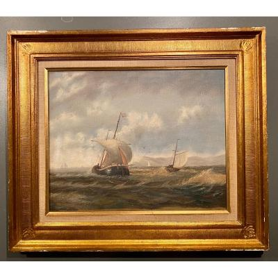 Magnificent And Beautiful Navy On Canvas Signed Barton Late 19th
