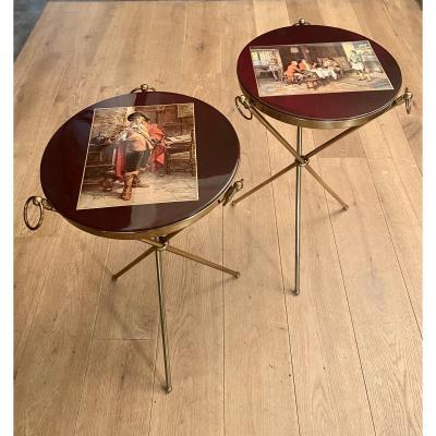 Magnifique Paire Tables Bout De Canapés Italie 1950 J. Brizzi