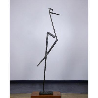 Jacques Duval Brasseur Rare Statue Pièce Unique 1970 / 173cm Oiseau Triangle