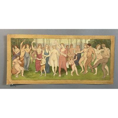 Attribué à Albert Ciamberlani étude Pour Une Fresque  Bacchanales Art Nouveau