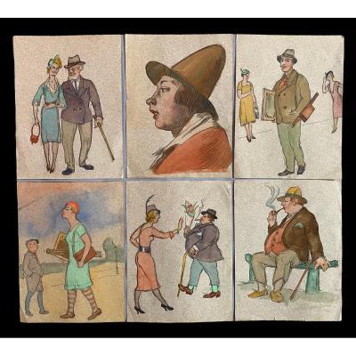 6 Caricatures Sur Papier, époque 1920 Art Deco  25.5 X  19cm