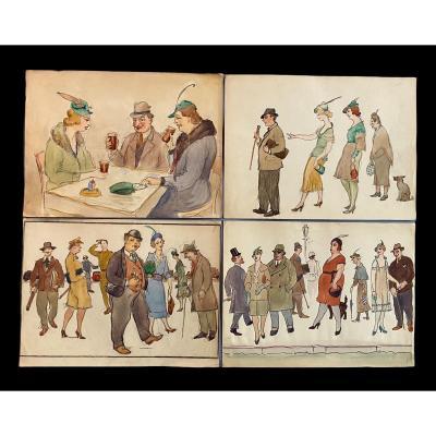 4 Caricatures époque Art Deco 1920 De 36 X 27cm