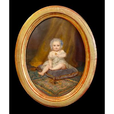 Magnificent Portrait 1858 Of A Child Of The Bourgeoisie Signed By Fritz Hickmann 1820 - 1900