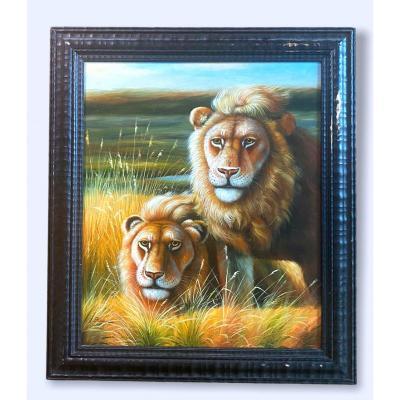 Spencer Hodge Né En 1943 Rare  Huile sur toile 2 lions