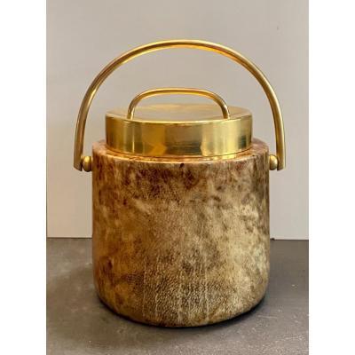 Aldo Tura Rare Lacquered Goatskin Ice Bucket Circa 1970 Signed