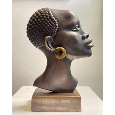 Statue En Bronze Visage Africaine 1940  Art Deco