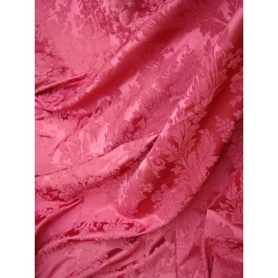Pair Of Pink Curtains In Silk And Cotton Floral Decor