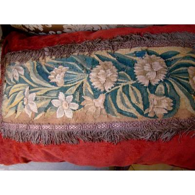 Cushion Old Aubusson Tapestry XVII And Silk Velvet