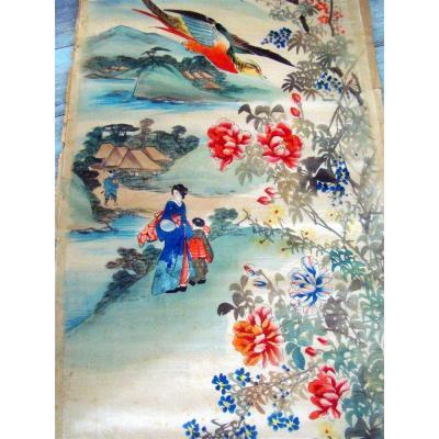 2 Peintures Japonaises Sur Voile De Soie XIXème