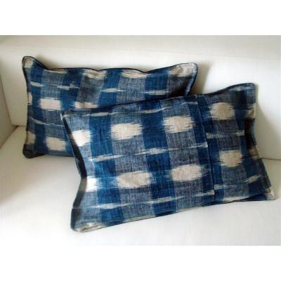 Pair Of Ancient Cushions Ikat Indigo And White Nineteenth