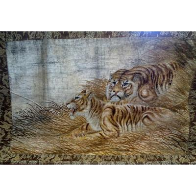 Chinese Embroidery Tigers Wall Hanging For Interior Design Art Deco
