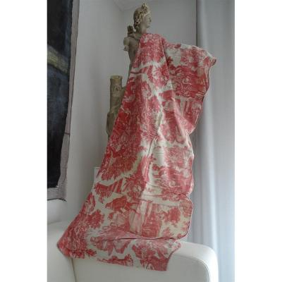 Toile De Rouen Valance XVIIIth Linen And Cotton Signed A.henry