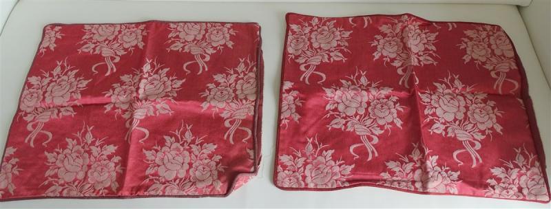 2 Housses De Coussin Soie Satin Bouquets De Roses Enrubannées-photo-2