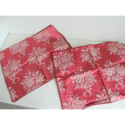 2 Silk Cushion Cover Satin Bouquets Of Roses Enrubannées